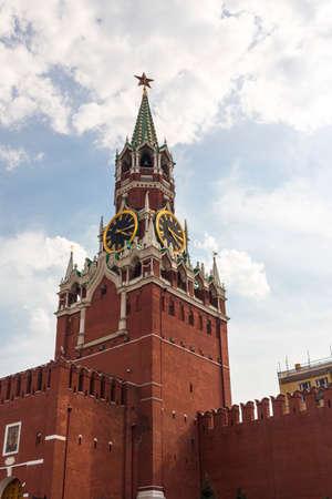 Spasskaya tower on Red Square Moscow Kremlin
