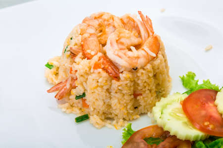 Fried rice with shrimps photo