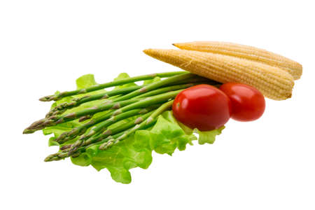 Baby corn with asparagus photo
