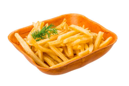 French fries isolated on white with dill photo