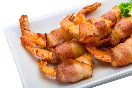 Garnélarákok bacon Stock fotó