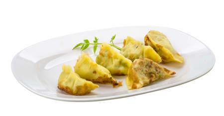 potstickers: Japan dumplings - gyoza isolated on white Stock Photo