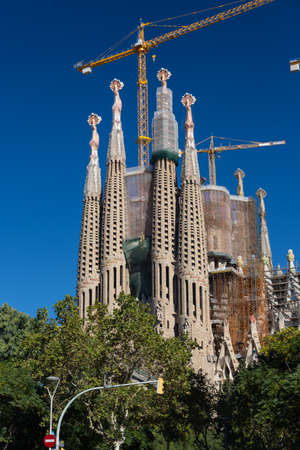 uncomplete: BARCELONA SPAIN - OCTOBER 28: La Sagrada Familia - the impressive cathedral designed by Gaudi, which is being build since 19 March 1882 and is not finished yet October 28, 2012 in Barcelona, Spain.