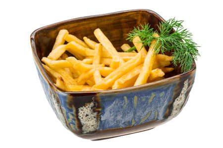 French fries isolated on white background with dill photo