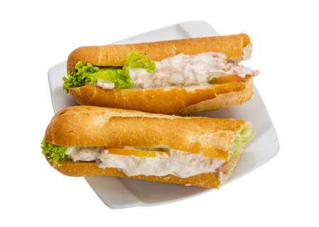Tuna sandwich with salad and tomato photo