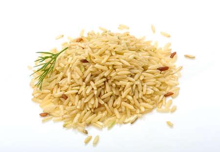 Raw rice mix heap isolated photo