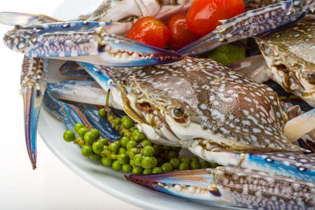 Raw blue crab - ready to cook photo