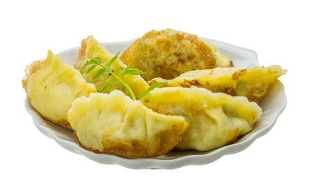 dim sum: Japan dumplings - gyoza isolated on white Stock Photo