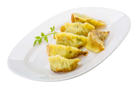 Japan dumplings - gyoza isolated on white photo