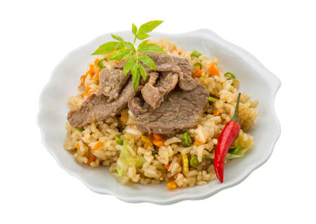 Fried rice with beef - asian food photo