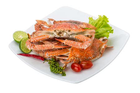 Boiled blue crab with campot pepper photo