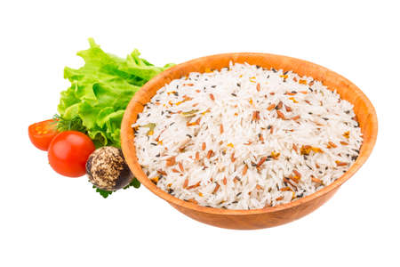 Raw rice mix with vegetables photo
