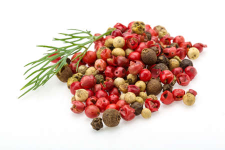 red on black: Red, black and white pepper heap mix Stock Photo