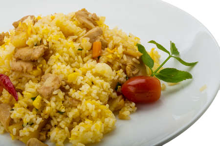 Rice with chicken and pineple isolated photo