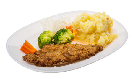 Schnitzel with mash potato and cabbage photo