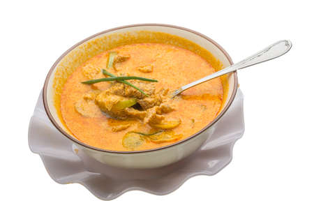 Red curry with pork and vegetables photo