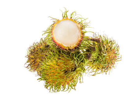 Bright ripe juicy rambutan isolated photo