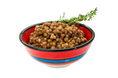 Backed lentils with thyme photo