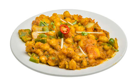 chaat: Channa Masala – isolated on white background