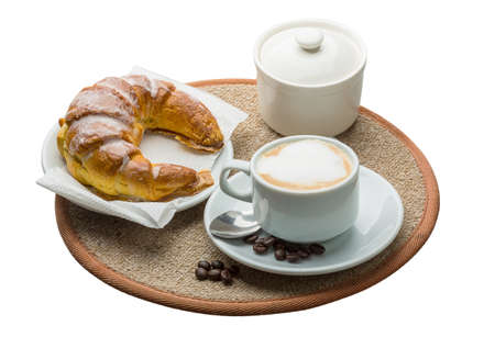 Aroma Cappuccino with beans and croissant photo