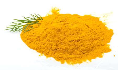 curcuma: Curcuma powder isolated with dill