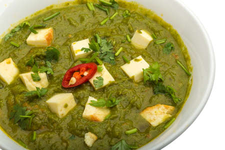 paneer: Sag Paneer - traditional Indian food Stock Photo