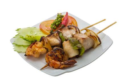 Seafood barbeque - shrimp, calamari, tuna photo