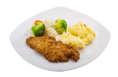 Schnitzel with mash potato and cabbage Stock Photo - 29295226