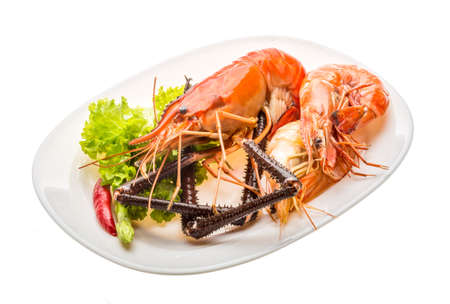 rosenbergii: Giant Freshwater Prawn and king prawns isolated