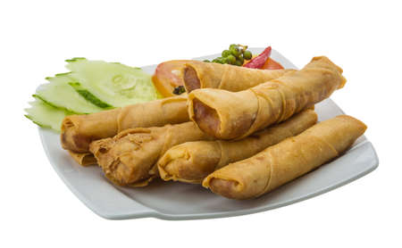 Spring rolls with salad and vegetables photo