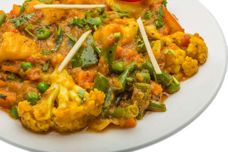 food       plate: Mix vegetable masala - Indian traditional food