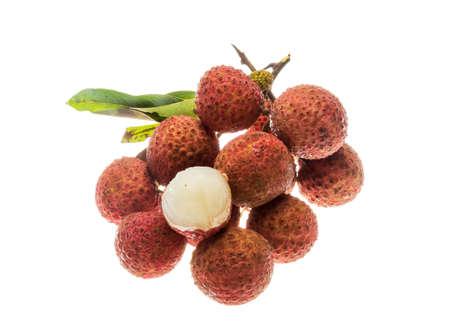 litschi: Asian fruit lychee heap isolated Stock Photo
