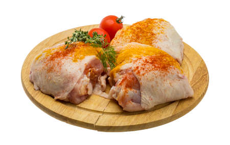 chicken leg: Raw chicken thigh - ready for cooking