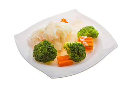 Boiled cabbage and broccoli salad photo