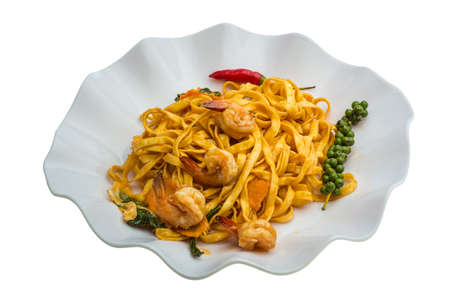 mie noodles: Fried noodles with shrimps and vegetables