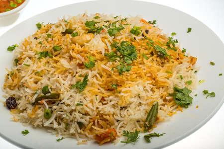 pakistani food: Vigetable Briyani - basmati rice vith herbs