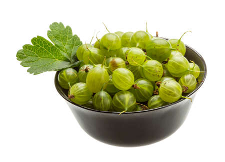 gooseberries: Green Gooseberries with leaf isolated on white