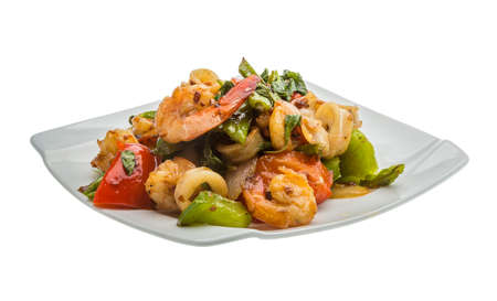 Seafood with vegetables - shrimps and calamari photo