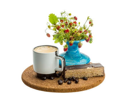 Coffee with cake and wild strawberry photo