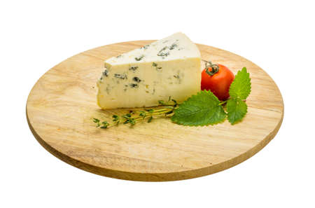 roquefort: Blue cheese with thyme and melissa Stock Photo