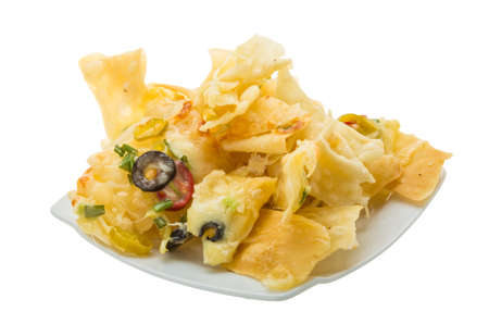 nacho chip: Nachos with chili pepper and olives