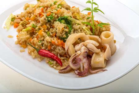 Fried rice with calamari - asian food photo