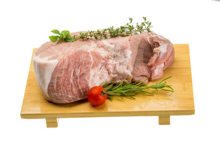 uncooked bacon: Raw pork meat with herbs