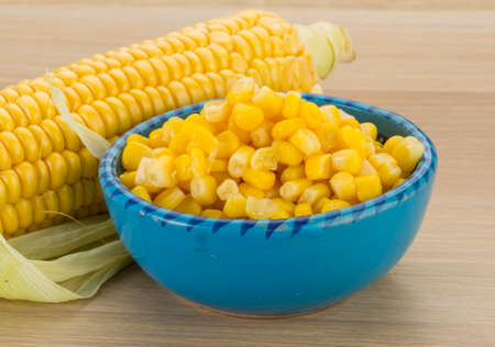 tinned: Sweet marinated corn in the bowl Stock Photo