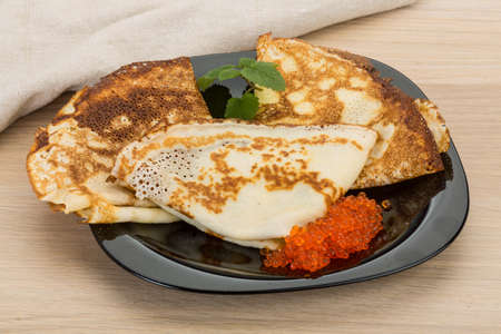 russian food: Pancakes with red caviar - famous Russian food