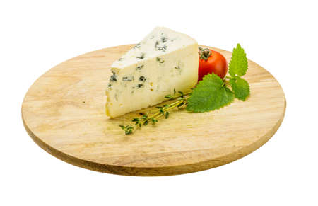 veined: Blue cheese with thyme and melissa Stock Photo