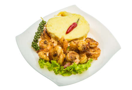 Garlic shrimps with potato and cheese photo