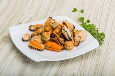 Marinated mussels - with thyme in the bowl Archivio Fotografico