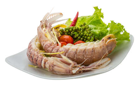 Boiled Spiny lobster with campot pepper photo