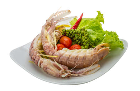 spiny lobster: Boiled Spiny lobster with campot pepper Stock Photo